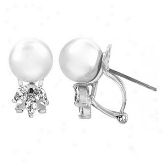 Emitations Rusty's Cz & Pearl Petal Earrings, Silver Tone