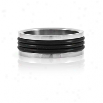 Emitations Seth's Black Rubber Stainless Steel Men's Ring, 12
