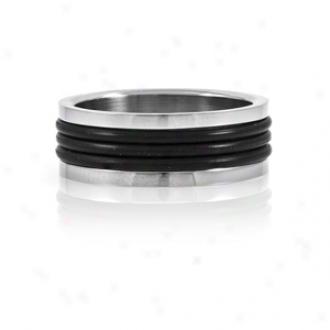 Emitations Set&h#039;s Black Rubver Stainless Steel Men's Rng, 13