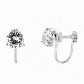 Emitatoons Shasta's 2 Tcw Round Cz Screwback Earrings, Silver
