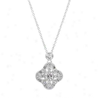 Emitations Sheeba&#O39;s Vintage Cz Pendant Necklace, Silver Tone