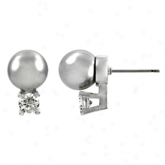 Emitations Shirin's Faux Pearl Over Cz Stud Earrings, Grey