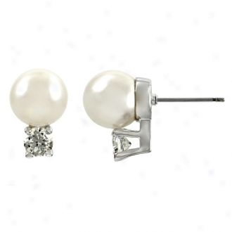Emitations Shirin's Faux Pearl Over Cz Stud Earrrings, White