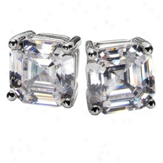 Emitations Shirina's Asscher Style Magnetic Stud Earrings, Silver