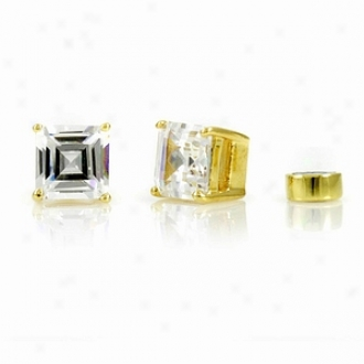 Emitations Shirina's Magnetic Earrings Asscher Cut Cz Studs, Gold