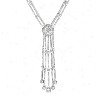 Emitationa Tippi's 1.5 Ct Fancy Danlge Necklace - 18 Inch, Silver Tone