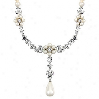 Emitations Tolla's Nuptial Pearl And Cz Dangle Necklace, Silver Tone