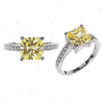 Emitations Trista's Princess Cut Cz Promise Ring - Canary, 7