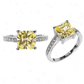 Emitatiosn Trista's Princess Cut Cz Pledge Ring - Canary, 8