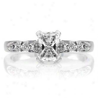 Emitations Ventura's .75 Ct Emerald Cut Cz Engagement Ring, 9