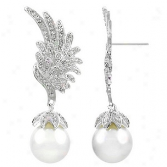 Emitations Von's Cz & Pearl Drop Angel Wing Earrings, Silver Tone