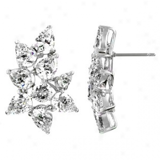 Emitations Willow's Pearr Cut Cz Post Back Earrings, Silver Tone