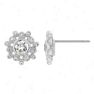 Emitations Wray's Cz Snow Flake Stud Earrings, Silver Tone