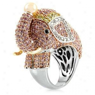 Emitations Zoelle's Pink Elephant Cocktail Ring - Silver Tone, 9
