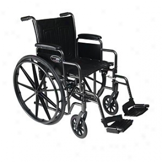Everest Jennings Traveler Se Steel Wheelchair Detachable Desk Arm & Swingaway Footrest 18  Seat, Black