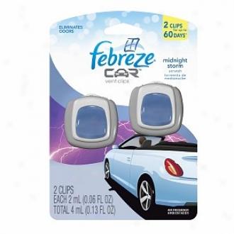 Febreze Car Vent Clips, Air Freshener, Midnight Storm