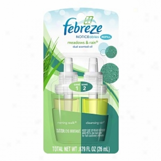 Febreze Noticeables, Dual Scented Oils, Refill, Meadows & Rain