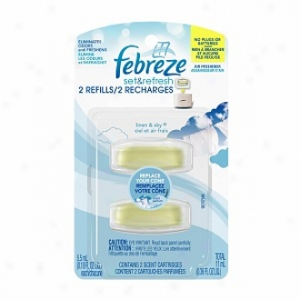 Febreze Set & Refresh Air Freshner, Dual Refill, Linen And Sky