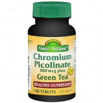 Finest Natural Chromium Picolinate 800 Mcg Plus Green Tea Dietary Supplement Tablets