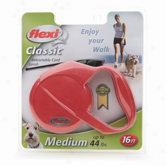 Flexi Usa Classic Retractable Cord Leash, Medium Dogs Up To 44 Lbs, 16ft, Red