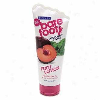 Freeman Bare Foot Softening Foot Lotion, Peppermint & Plum, Invigorating