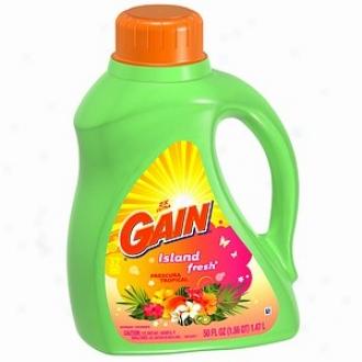 Gain Liquid Detergent, 2x Concentrated, Island Fresh, 32 Loada