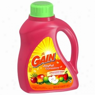 Gain Liquid Detergent, 2x Concentrated, Joyful Expressions Apple Mango Tango, 24 Load