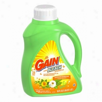 Gain Liquid Detergent, 2x Concentrated, W/ Bleach Alt, Outdoor Sunshine, 26 Loads