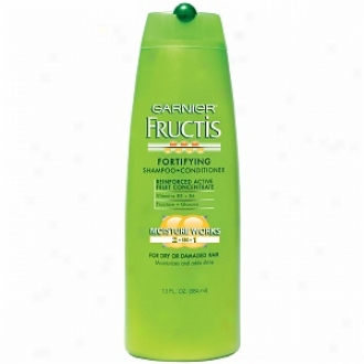 Garnier Fructis Haircare Fortifying 2-in-1 Shampoo + Conditioner, Dry Or Damaged Hair
