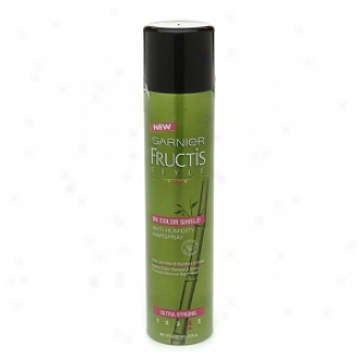 Garnier Fructis Style Anti-humidity Hairspray Through  Uv Color Shield, Ultra Alcoholic  Hold