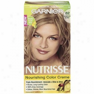 Garnier Nutrisse Level 3 Permanent Creme Haircolor, Champagne Blonde 82 (champagne Fizz)