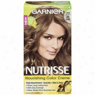 Garnier Nutrisse Level 3 Permanent Creme Haircolor, Dark Beige Blonde 72 (Perfume Latte)