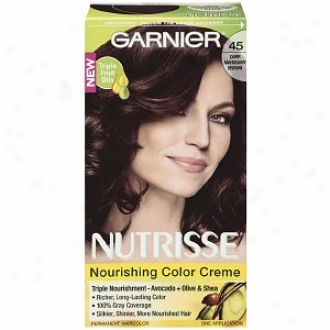 Garnier Nutrisse Level 3 Permanent Crrme Haircolor, Dark Mahogany Brown 45 (cjnnamon Stick)