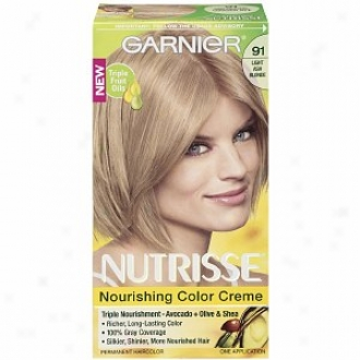 Garnier Nutrisse Level 3 Permanent Creme Haircolor, Light Ash Blonde 91 (ginger Ale)