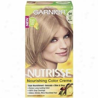 Garnier Nutrisse Level 3 Permanent Creme Haircolor, Light Ash Blonde 91 (ginger Ale)