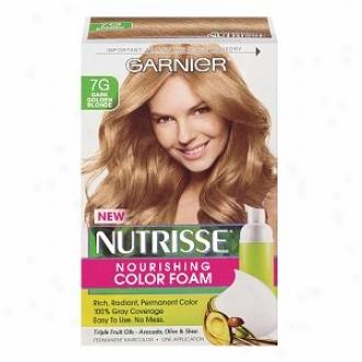 Garnier Nutrisse Nourishing Color Foam Permanent Haircolor, Dark Golden Blonde 7g