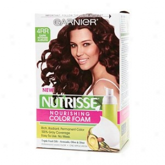 Garnier Nutrisse Nourishing Color Foam Permanent Haircolor, Dark Intense Auburn 4rr