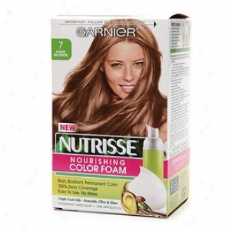Garnier Nutrisse Nourishing Color Foam Permanent Haircolor, Dark Blonde 7
