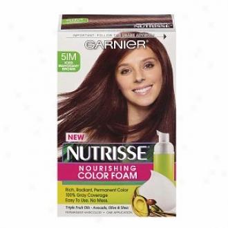 Garnier Nutrisse Nourishing Color Foam Permanent Haircolor, Iced Mahogany Brown 5im