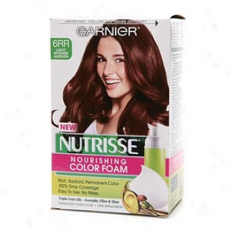 Garnier Nutrisse Nourishing Color Foam Permanent Haircolor, Light Intense Auburn 6rr