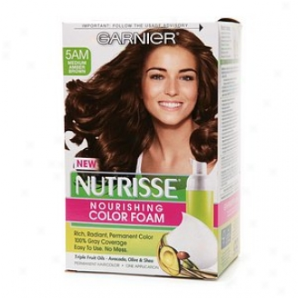 Garnier Nutrisse Nourishing Color Foam Permanent Haircolor, Medium Amber Brown 5am