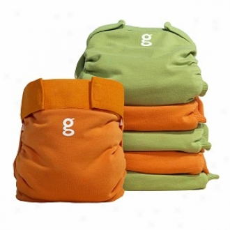 Gdiapers Little Gpants Everyday G's, 6-pack, Great Orange & Guppy Green, Medium
