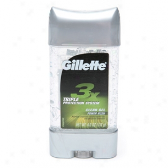 Gollette 3x Triple Protection System Clear Gel Antiperspirant & Deodorant, Power Rush