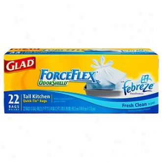 Glad Force Flex Tall Kitchen Quick-tie Bags Odor Shield With Febreze Freshness Fresh Scent, 13 Gallon
