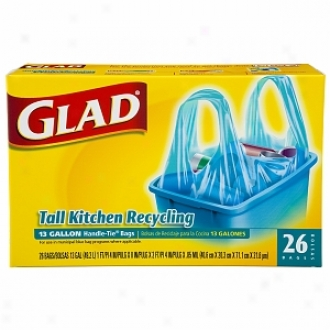 Glad Tall Kitchen Bags, Handle-tie, 13 Gallon, Blue
