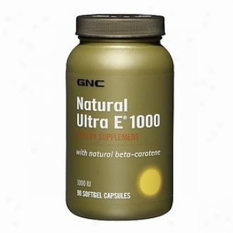 Gnc Natural Ultra E 1000, With Natural Betacarotene, Softgel Capsules