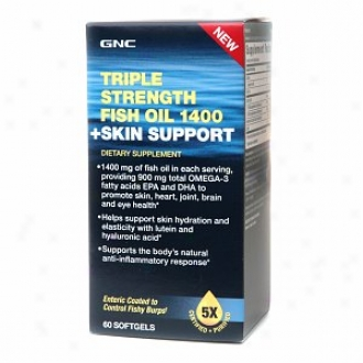 Gnc Triple Strength Fish Oil 1400 + Skin Support, Softgels