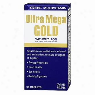 Gnc Utra Mega Gold Without Iron Multivitamin, Caplets
