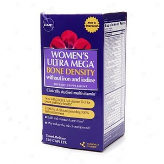 Gnc Women's Ultra Mega Bone Density Without Iron And Iodine Multivitamin, Caplets