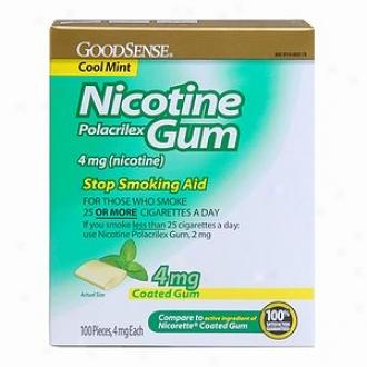 Good Sense Nicotine Polacrilex Coated Gum, 4mg, Cool Mint